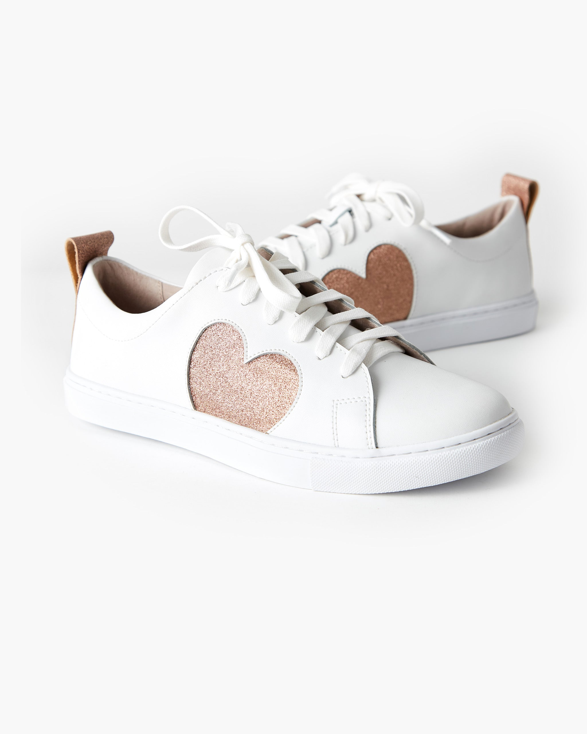 Heart Leather Sneaker - Rose Gold