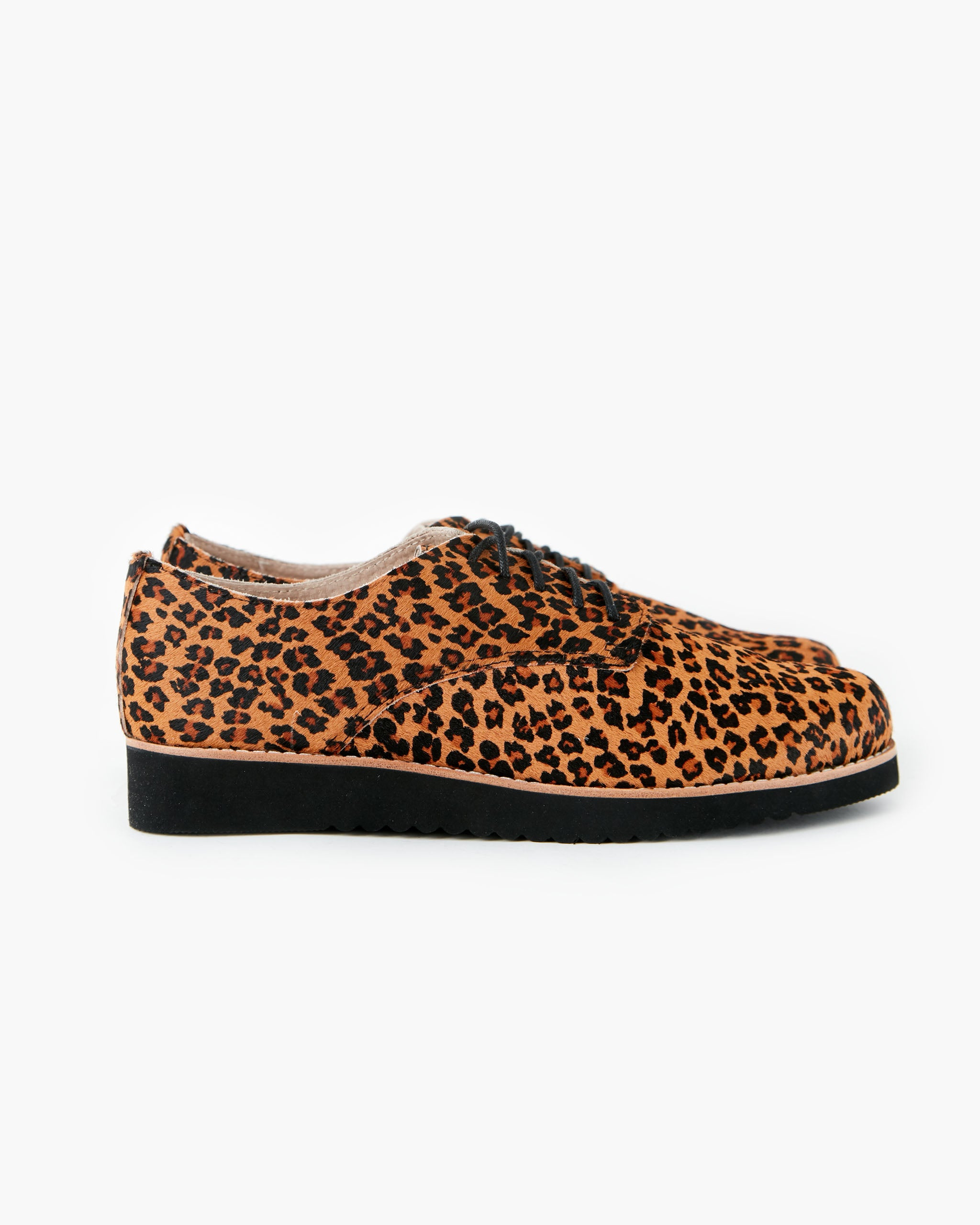 Mila Leather Lace Up - Tan Leopard Pony