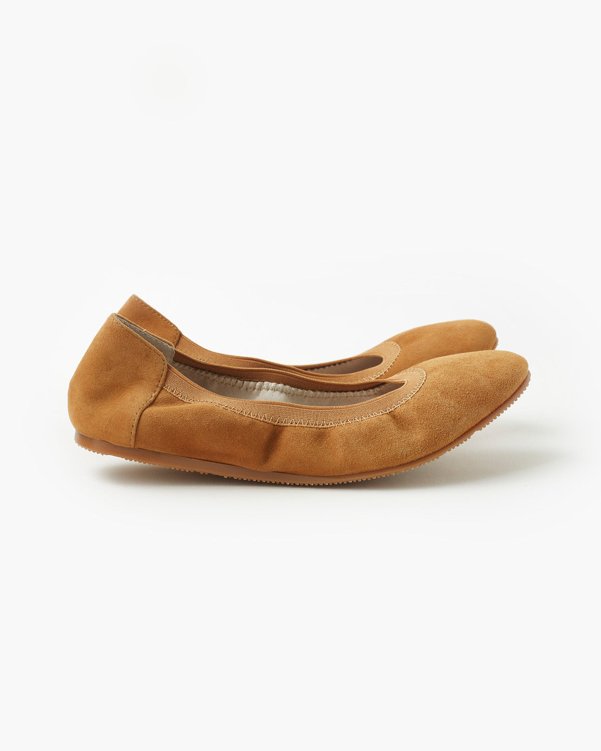 Ava Leather Ballet Flat - Tan Suede