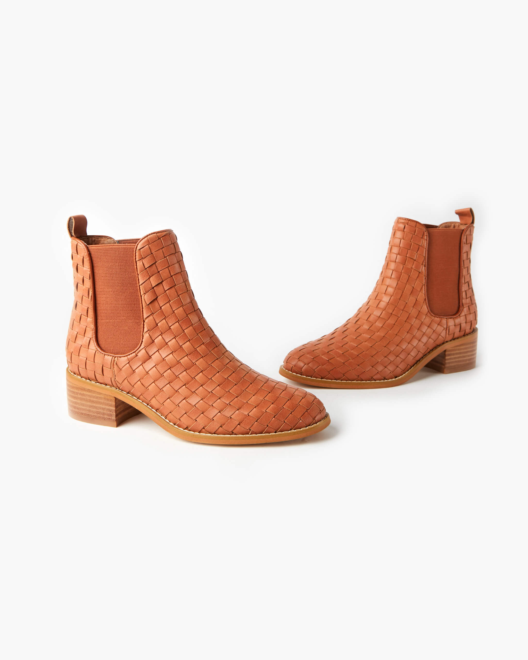 Grace Leather Weave Ankle Boot - Tan