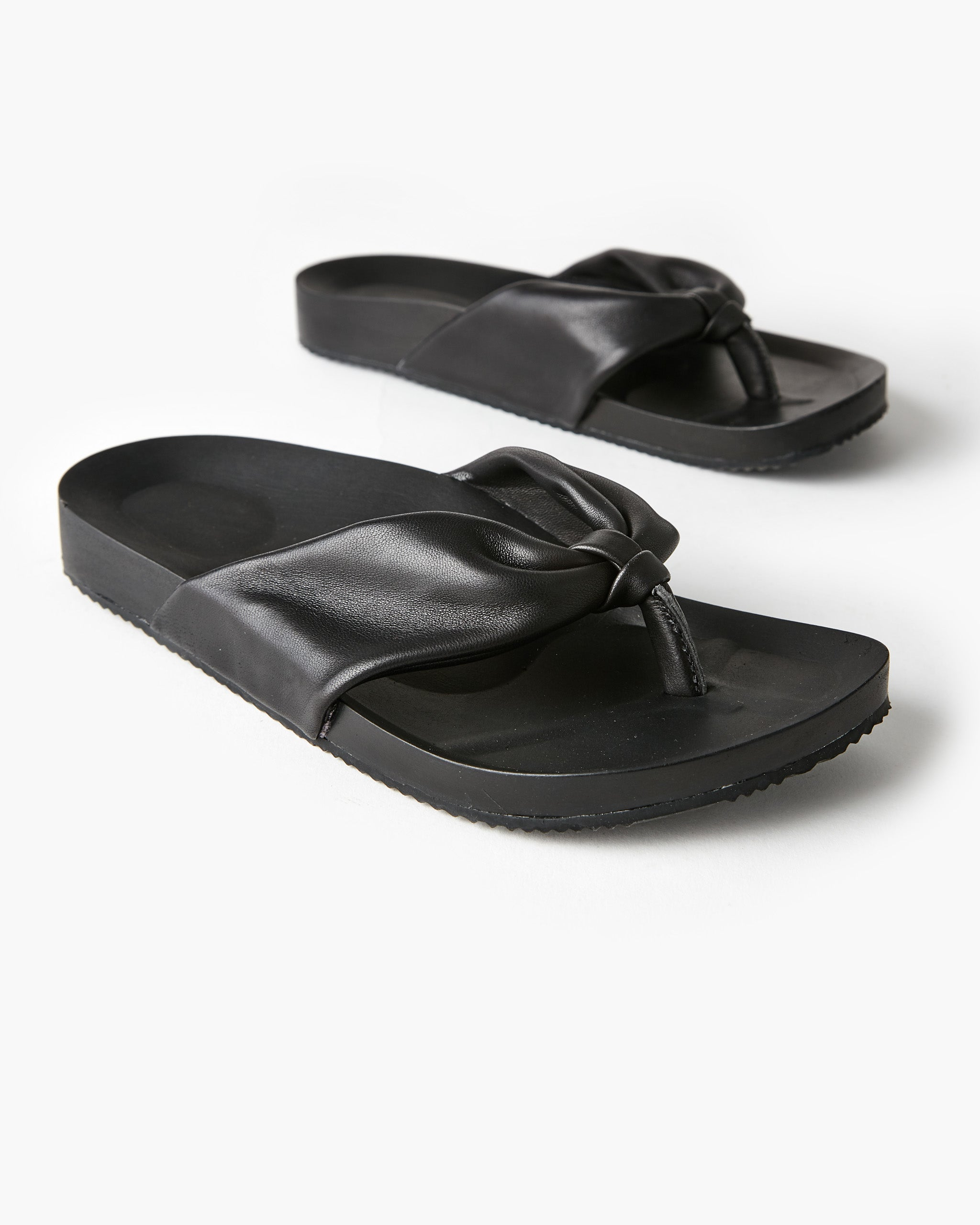 Bondi Leather Slide - Black