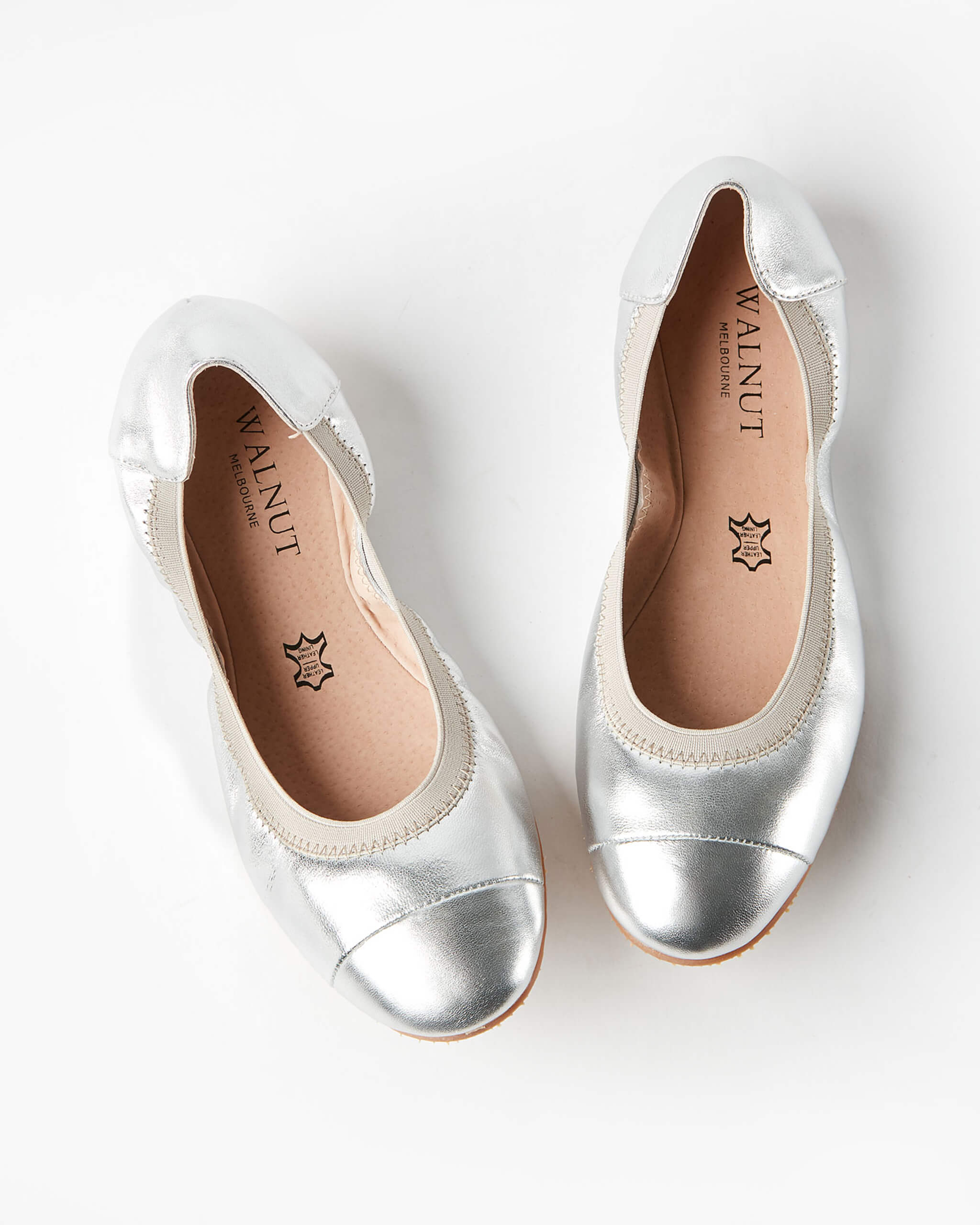 Ava Leather Ballet Flat - Silver