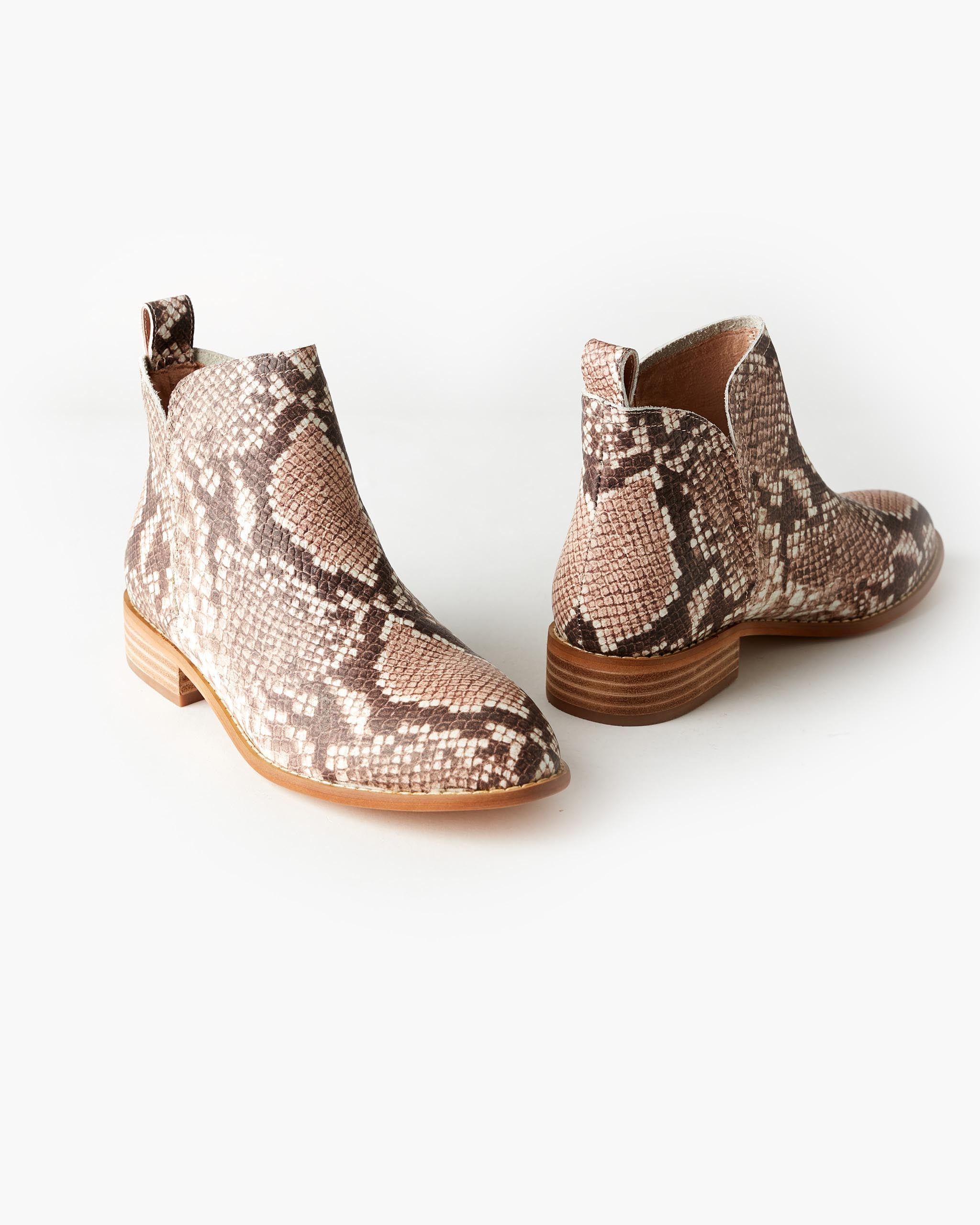 Douglas Leather Ankle Boot - Blush Python