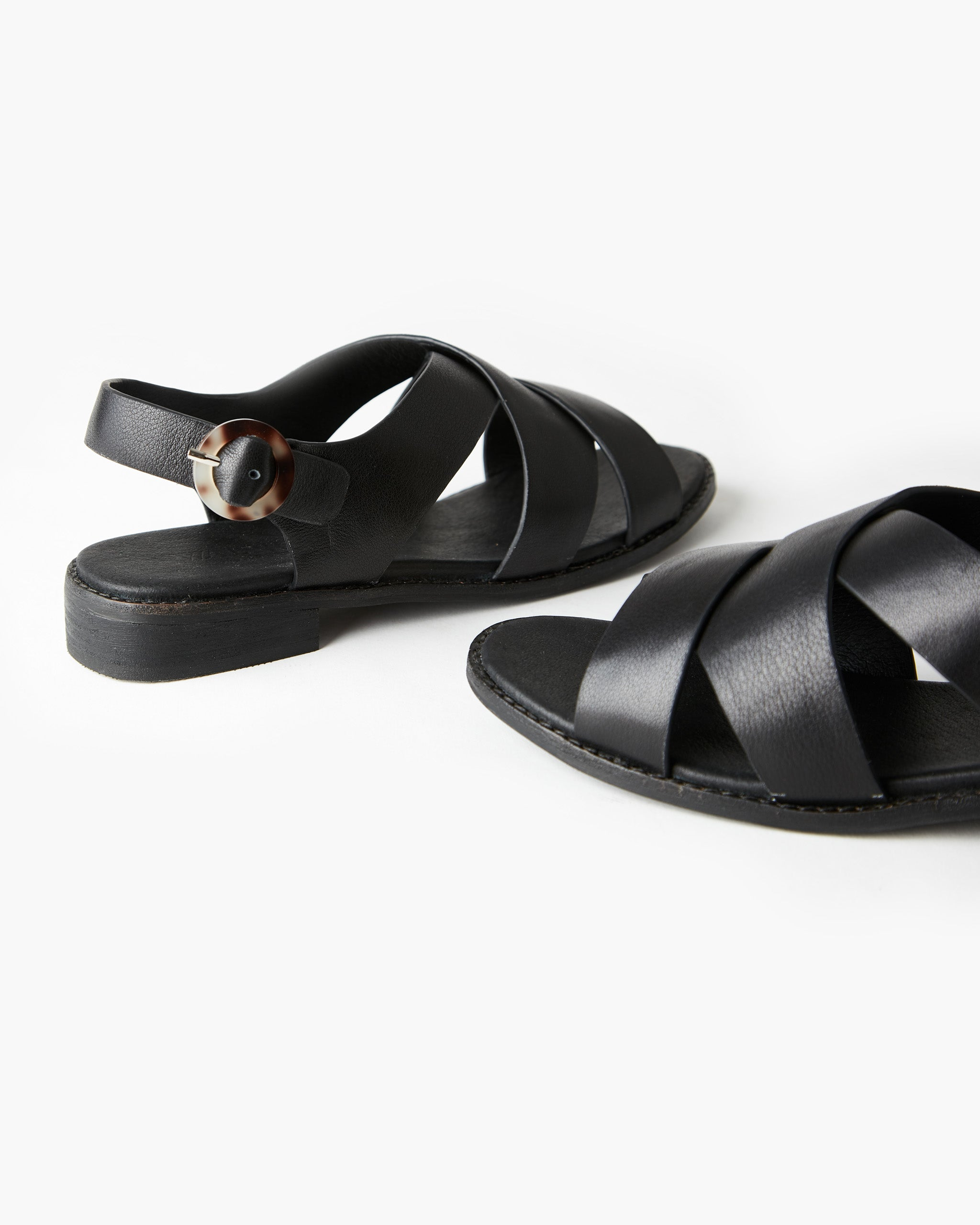 Esmay Leather Sandal - Black
