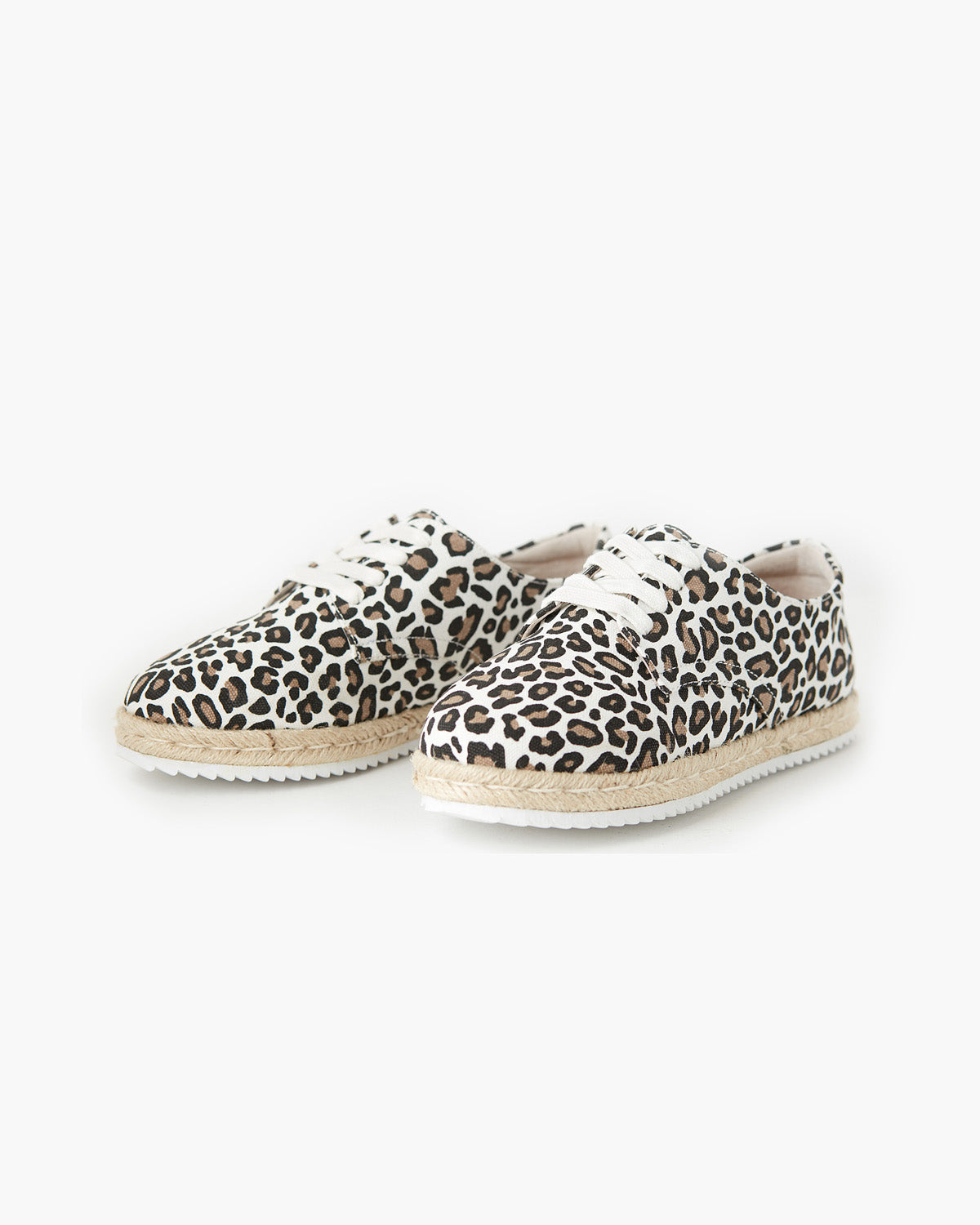 Giselle Canvas Lace Up Espadrille - White Leopard