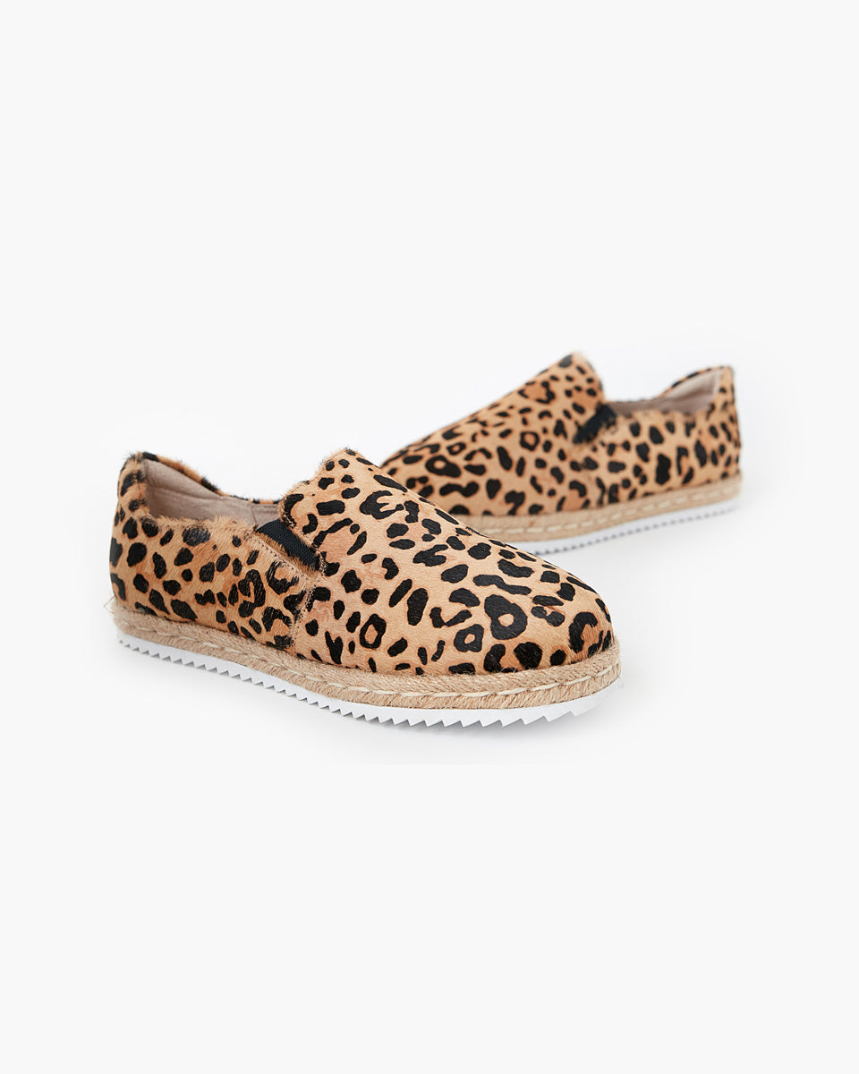 Goldie Leather Espadrille - Tan Leopard Pony