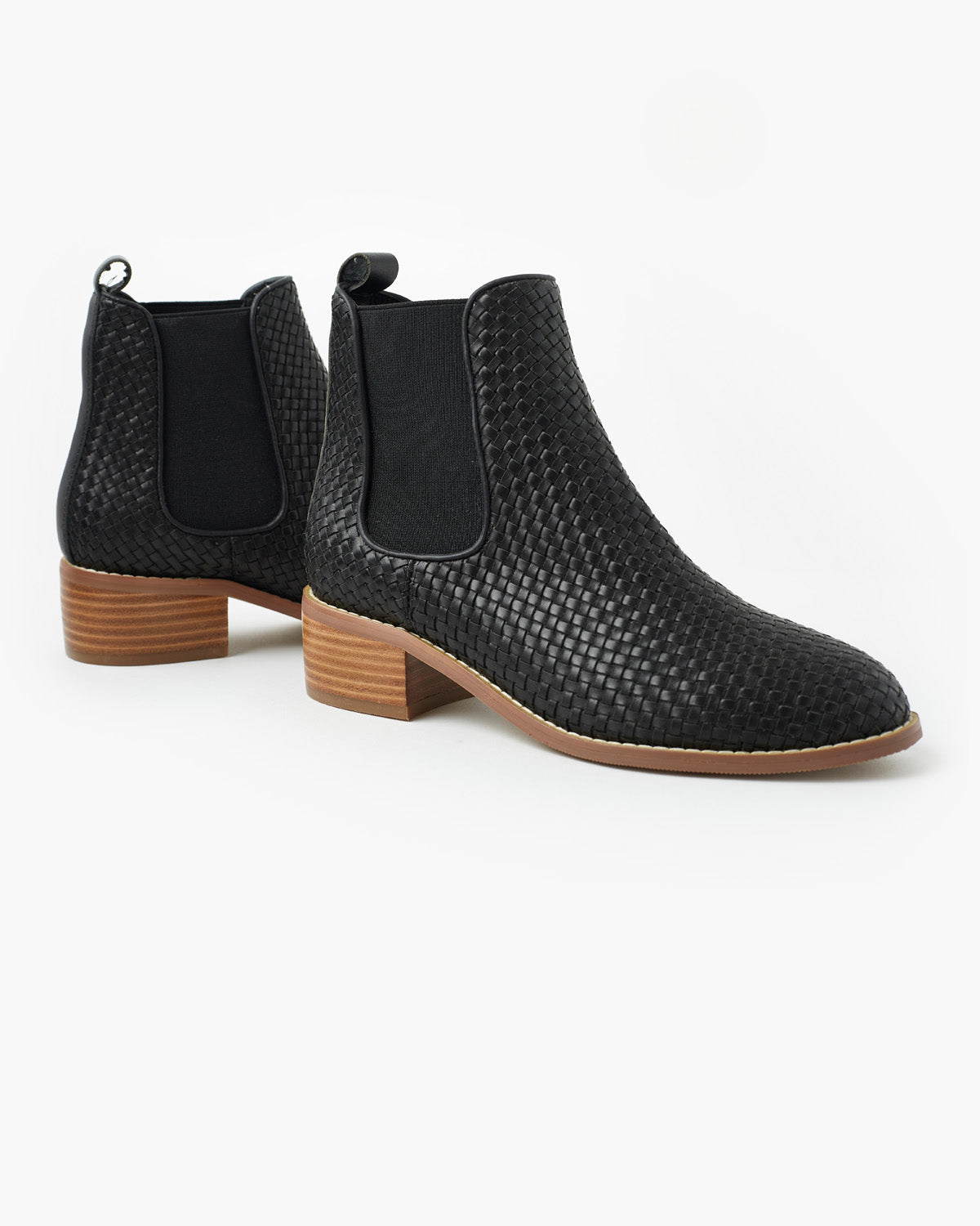 Grace Weave Leather Boot - Black