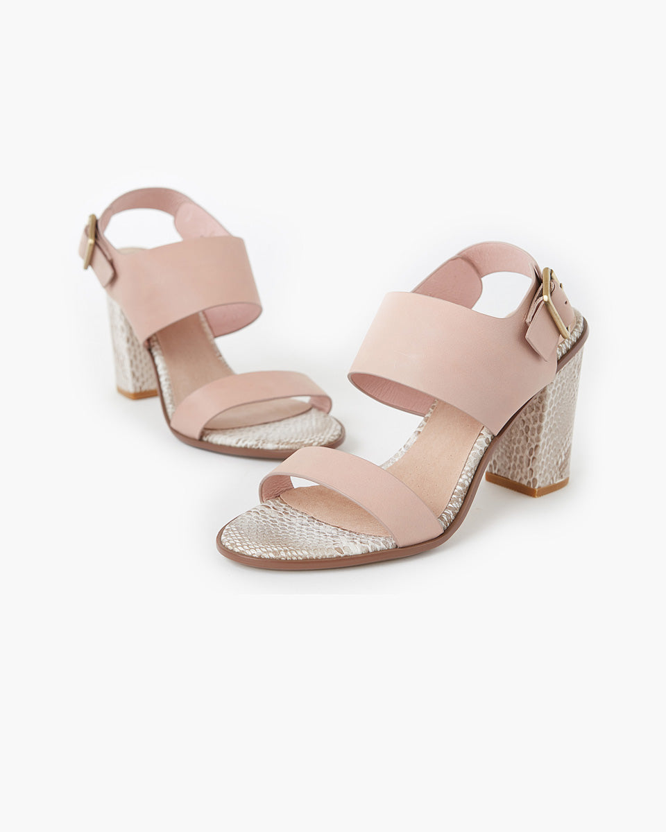 Havana Leather Block Heel - Peony