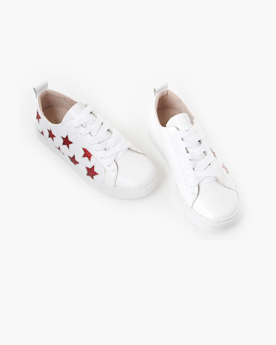 Haven Leather Sneaker - Red Glitter Star