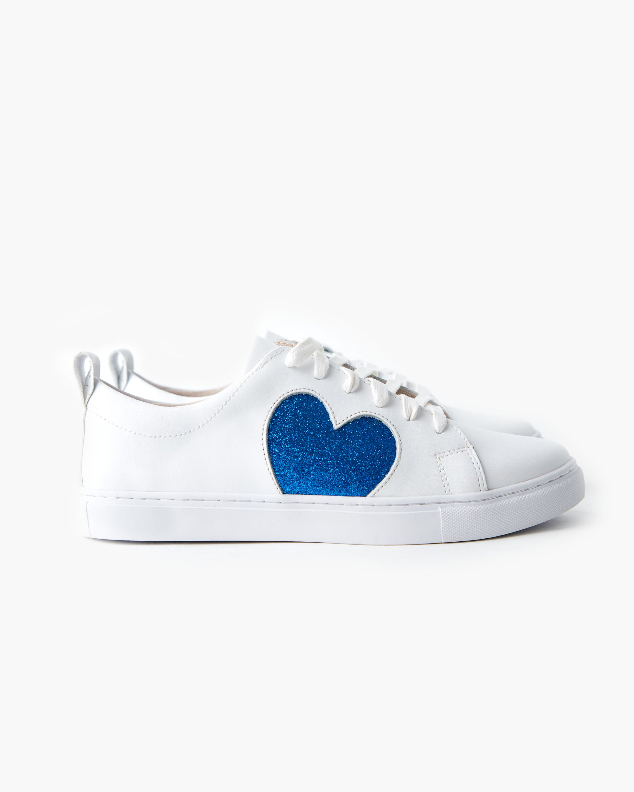 Heart Leather Sneaker - Cobalt Glitter
