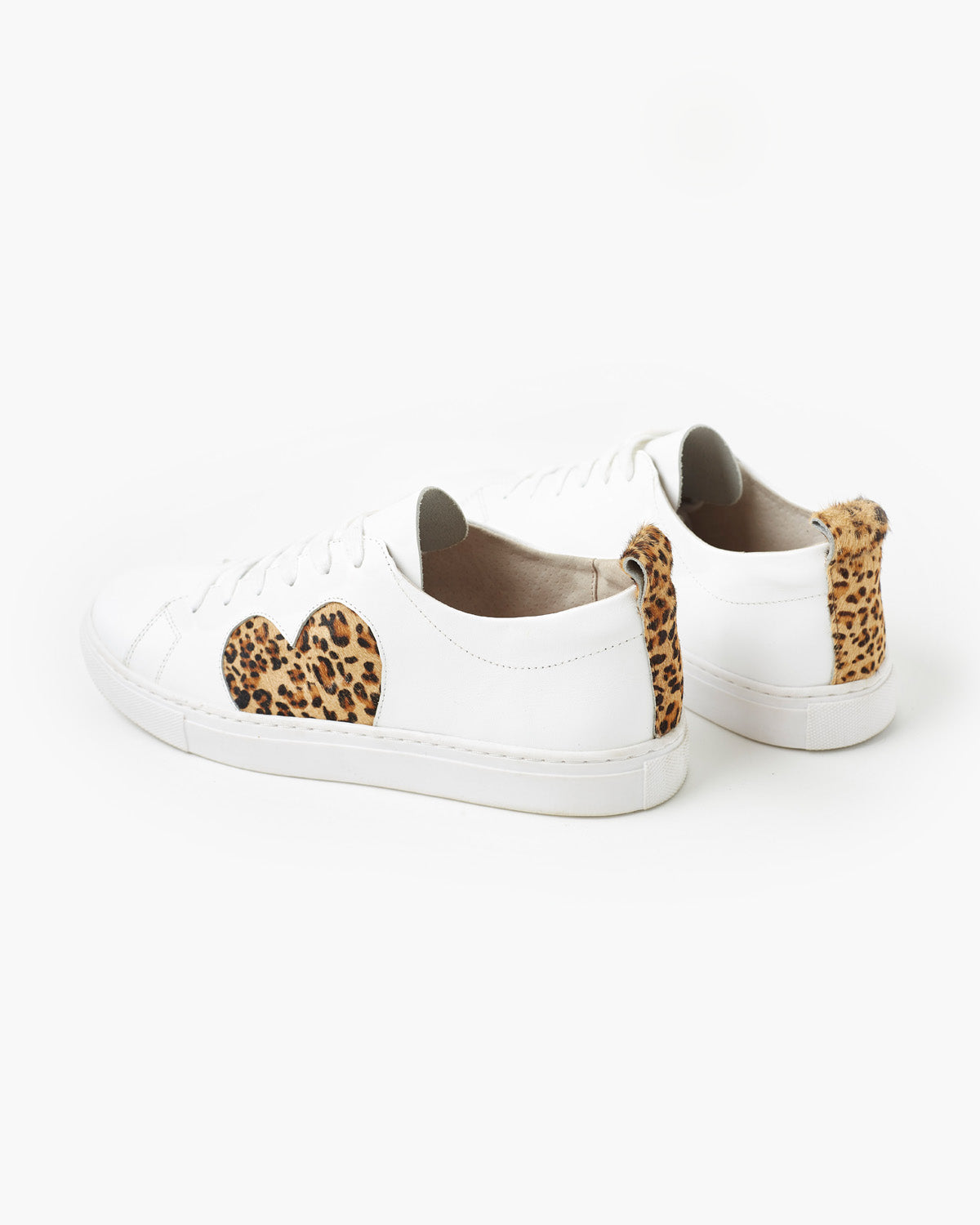 Heart Leather Sneaker - Leopard Pony