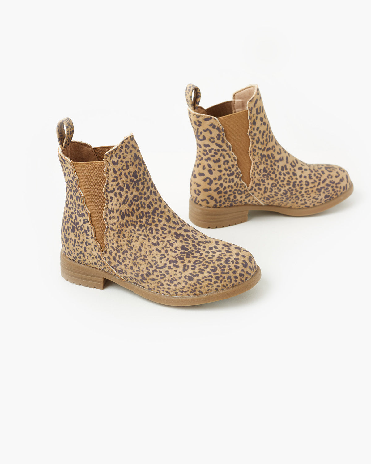 Kendall Scalloped Boot - Tan Leopard