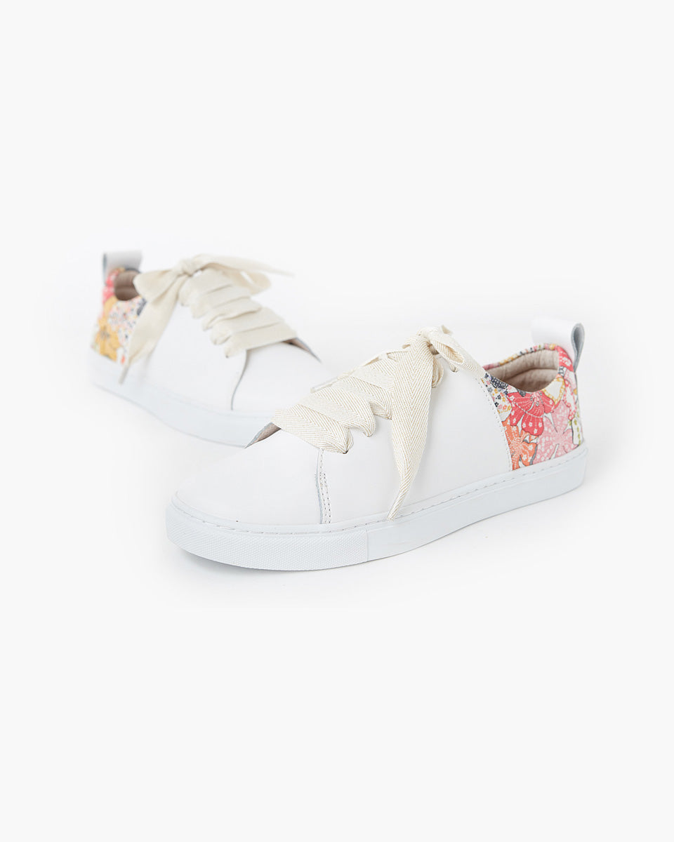 Harper Leather Sneaker Liberty Fabric - Mauvey