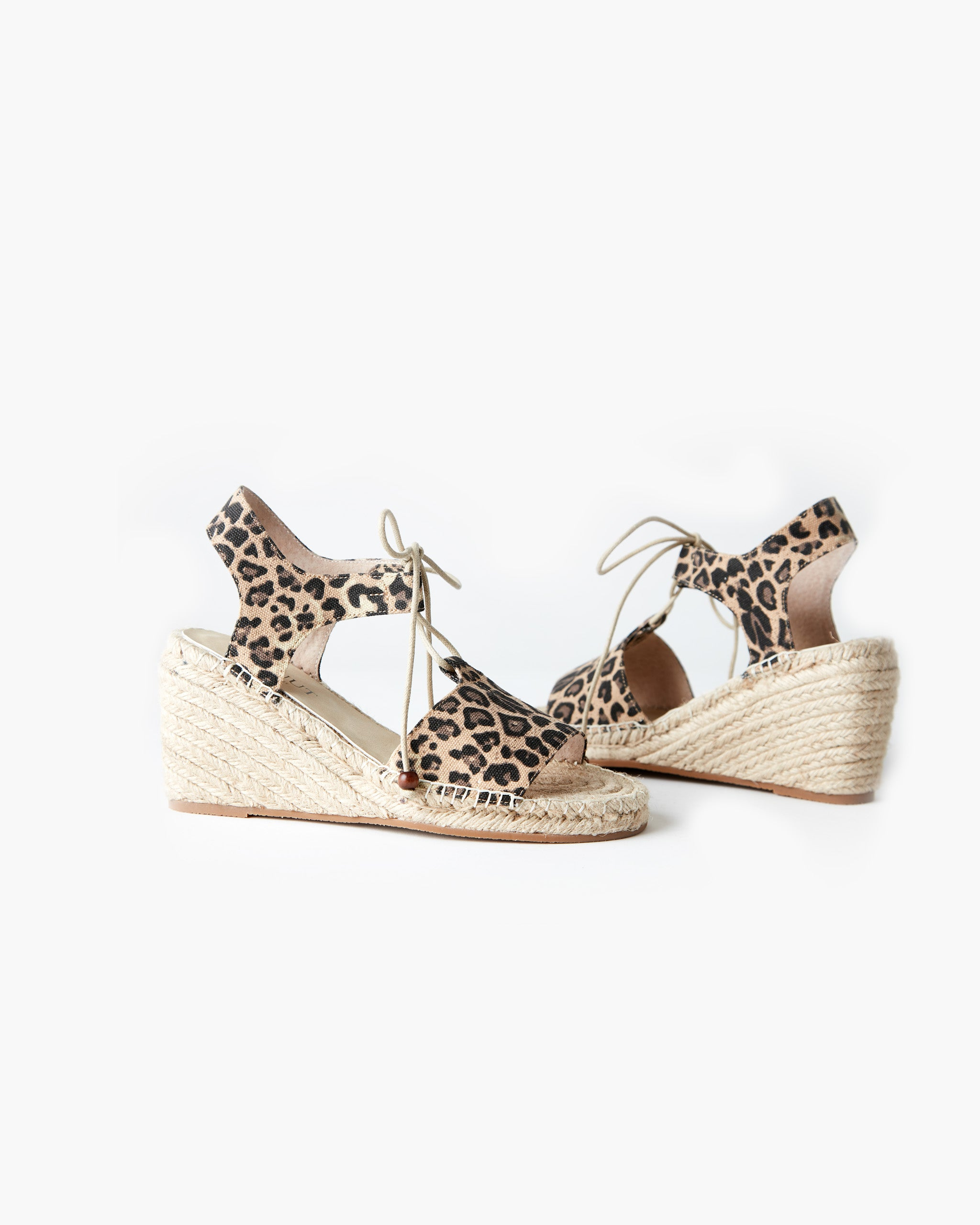 Vale Canvas Wedge - Tan Leopard