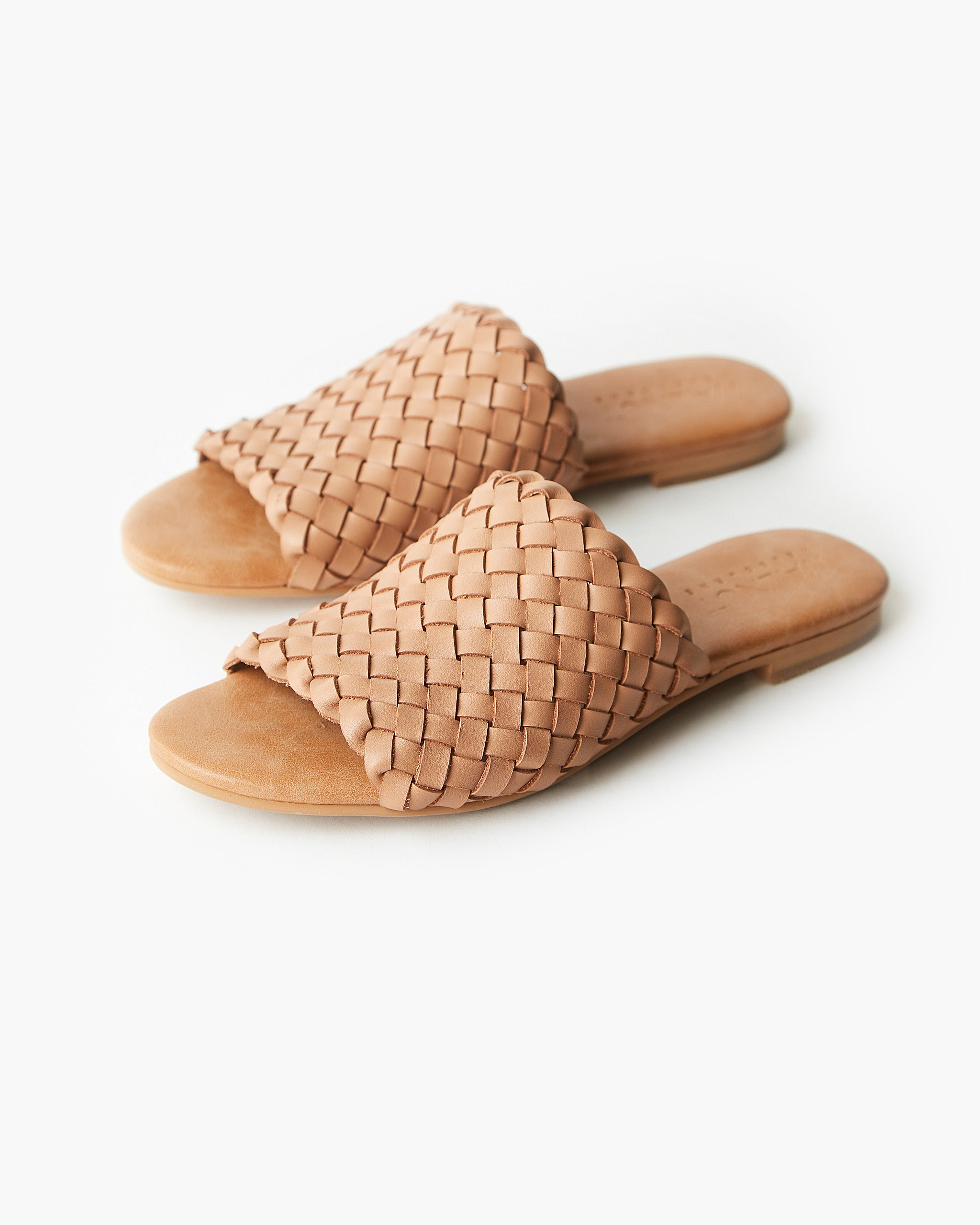 Vienna Woven Leather Slide - Tan