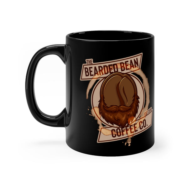 BBCC LOGO 11oz BLACK MUG - The Bearded Bean Coffee Company