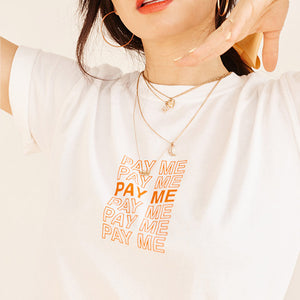 White Pay Me Short Sleeve