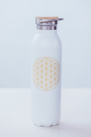 BODHI THERMO WATER BOTTLE FLOWER OF LIFE WHITE