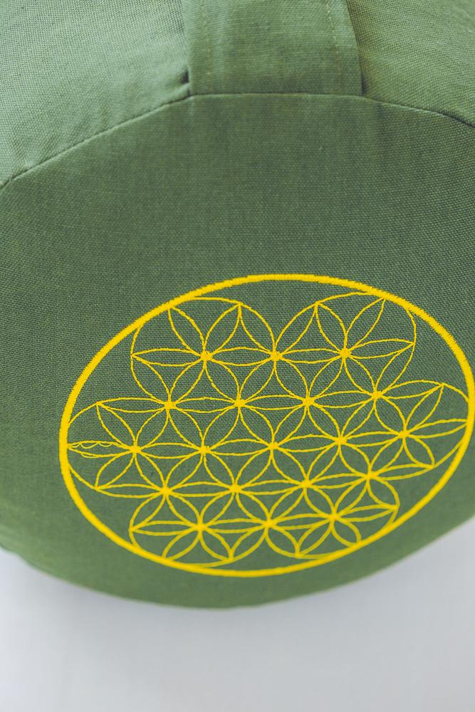 BODHI MEDITATION PILLOW ROUND GREEN FLOWER OF LIFE