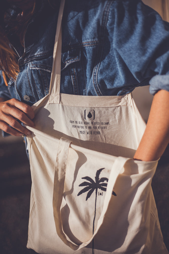 WOMAN  RECYCLED PALM TREE TOTEBAG NATURAL
