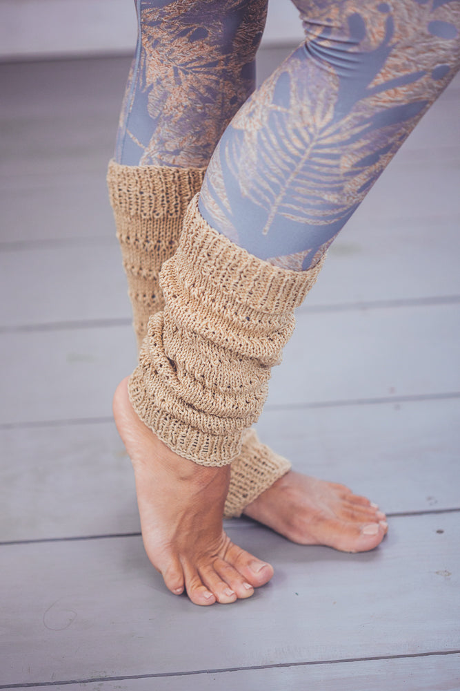DENISA LACED CROCHET LEG WARMERS GOLD