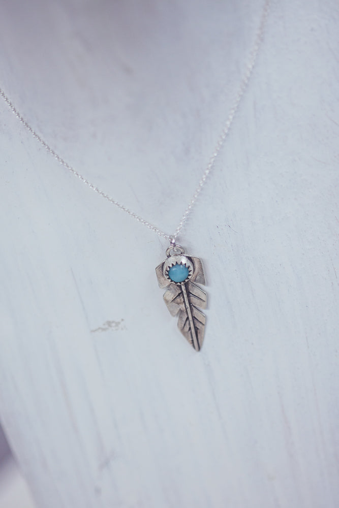 LAITLAH FEATHER LARIMAR NECKLACE