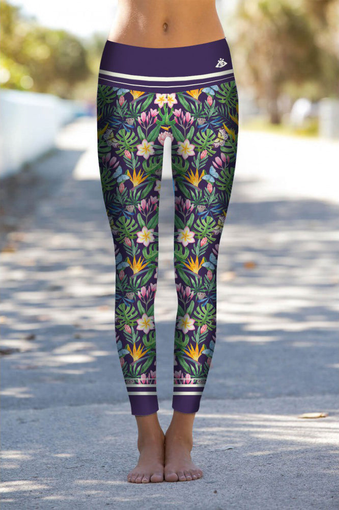 BRIGHT BOHO PLUMERIA LEGGINGS
