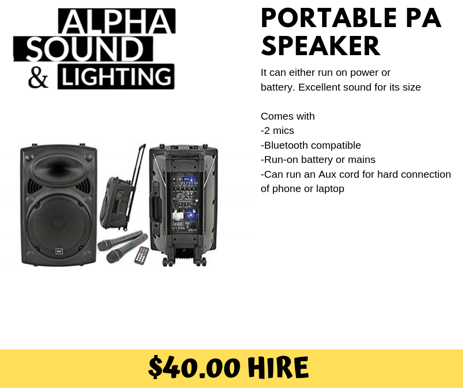 All in one battery PA Speaker + 2 Wireless Mic and Bluetooth connection - Alpha Sound and Lighting