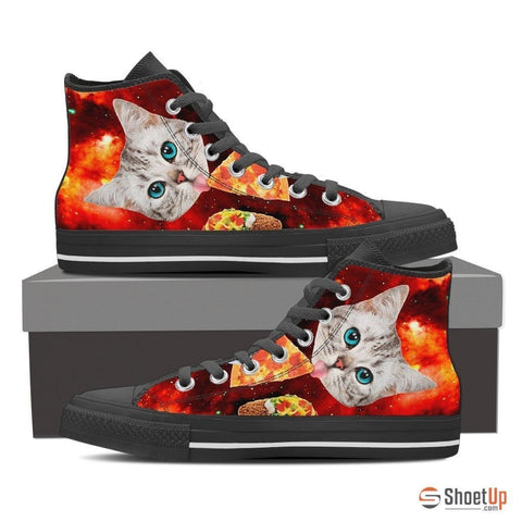 Cat Eat Pizza Women's Canvas Shoes-3D Print-Free Shipping