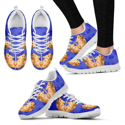 Golden Hamster Print (Black/White) Running Shoes For Women-Free Shipping