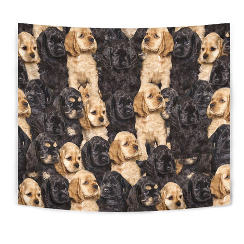 Cocker Spaniel In Lots Print Tapestry-Free Shipping