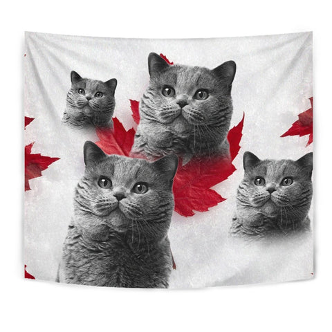 British Shorthair Cat On White Print Tapestry-Free Shipping