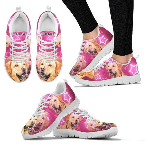Labrador Retriever On Pink Print Running Shoes For Women- Free Shipping