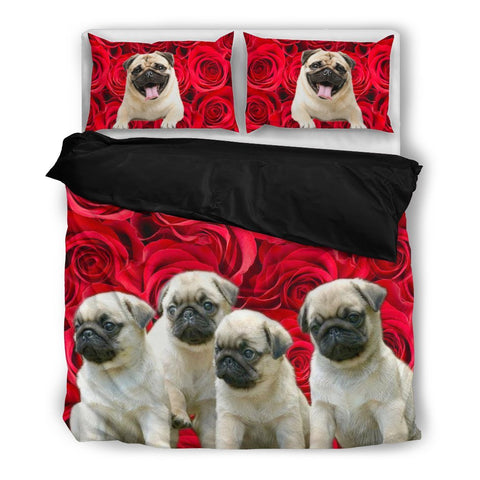 Valentine's Day Special Pug Dog On Red Print Bedding Set- Free Shipping