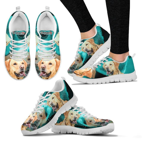 Labrador Retriever On Deep Skyblue Print Shoes For Women- Free Shipping