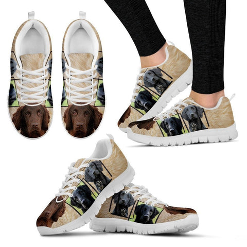 Flat-Coated Retriever Print Sneakers For Women(White)-Express Shipping