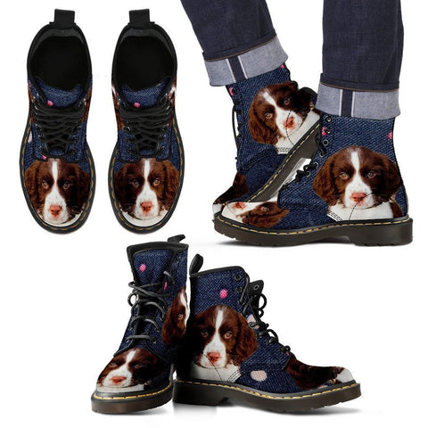 English Springer Spaniel Print Boots For Men-Express Shipping