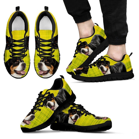 Greater Swiss Mountain Dog Print (Black/White) Running Shoes For Men-Free Shipping Limited Edition