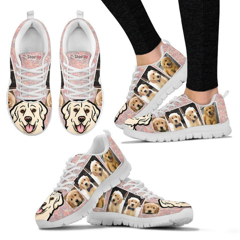 Unique Golden Retriever Collage Print Running Shoes For Women- Free Shipping