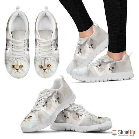 White Persian Cat Print Running Shoe For Women- Free Shipping