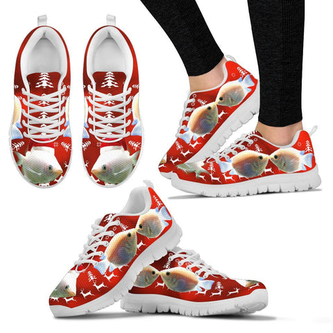 Beautiful Kissing Gourami Fish Print Christmas Running Shoes For Women- Free Shipping