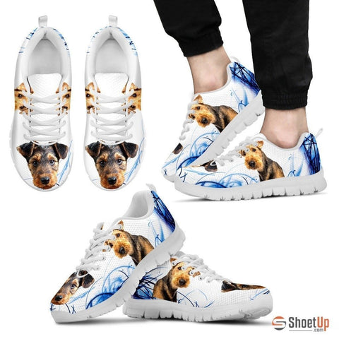 Airedale Terrier Print Sneakers For Men(White)- Free Shipping