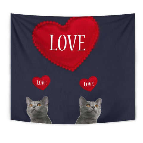 Chartreux Cat Love Print Tapestry-Free Shipping