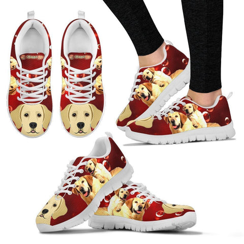 Labrador Retriever On Red-Women's Running Shoes-Free Shipping