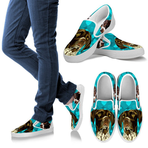Valentine's Day Special-German Shorthaired Pointer Print Slip Ons For Women- Free Shipping