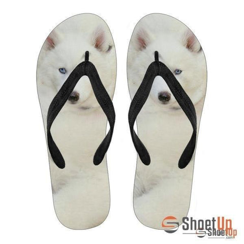 White Husky Puppy Flip Flops For Women- Free Shipping