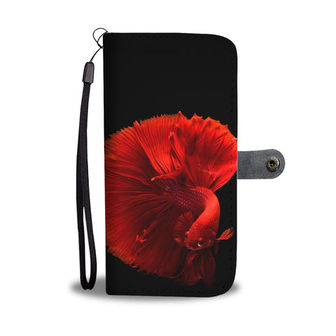 Red Siamese Fighting Fish (Betta Fish) Print Wallet Case-Free Shipping
