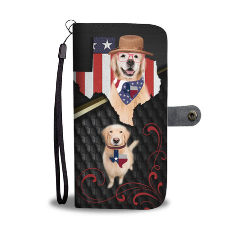 Cute Golden Retriever Print Wallet Case-Free Shipping-TX State