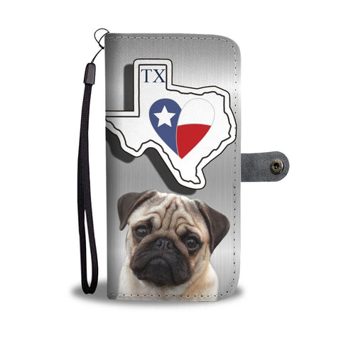 Pug Print Wallet Case-Free Shipping-TX State