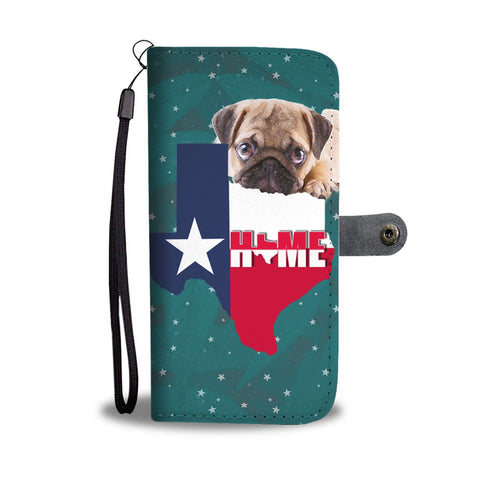 Cute Pug Dog Print Wallet Case-Free Shipping-TX State